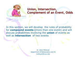 Union, Intersection, Complement of an Event, Odds compound events (