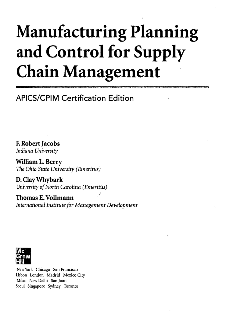Manufacturing Planning And Control For Supply Chain Management Apics