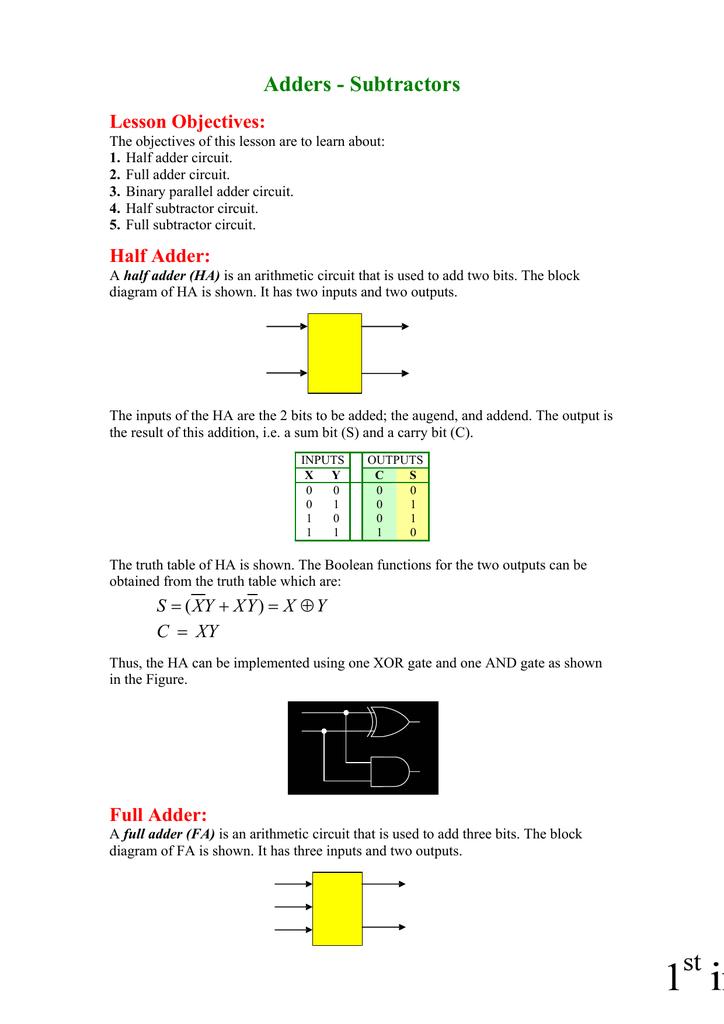 Superb Adders Subtractors Lesson Objectives Half Adder Wiring Database Plangelartorg