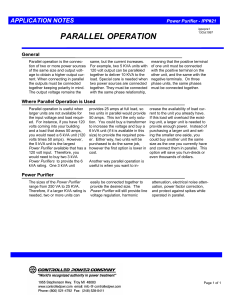 PARALLEL OPERATION General