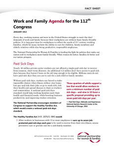 Work and Family for the 112  Congress