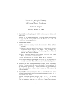 Math 485, Graph Theory: Midterm Exam Solutions Stephen G. Simpson