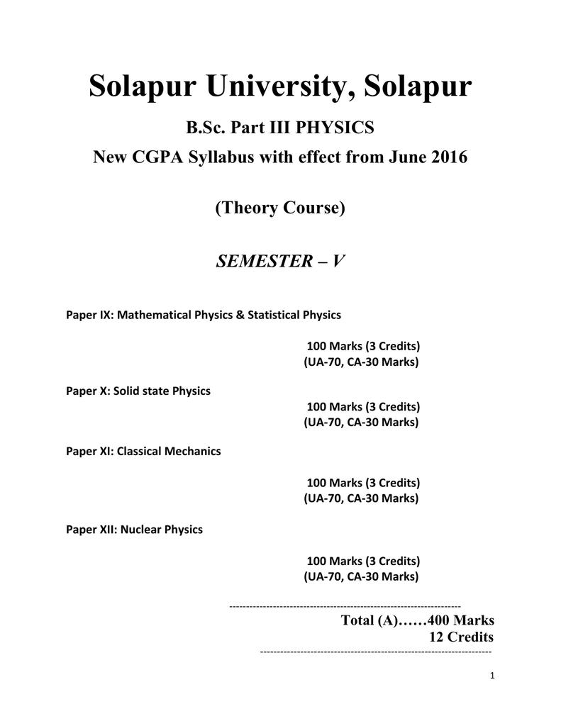 Solapur University, Solapur B Sc  Part III PHYSICS