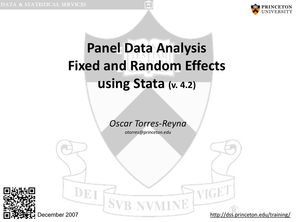 Panel Data Analysis Fixed and Random Effects using Stata