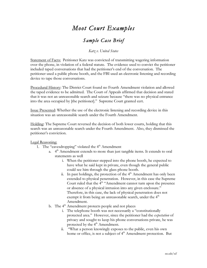 Moot Court Examples Sample Case Brief