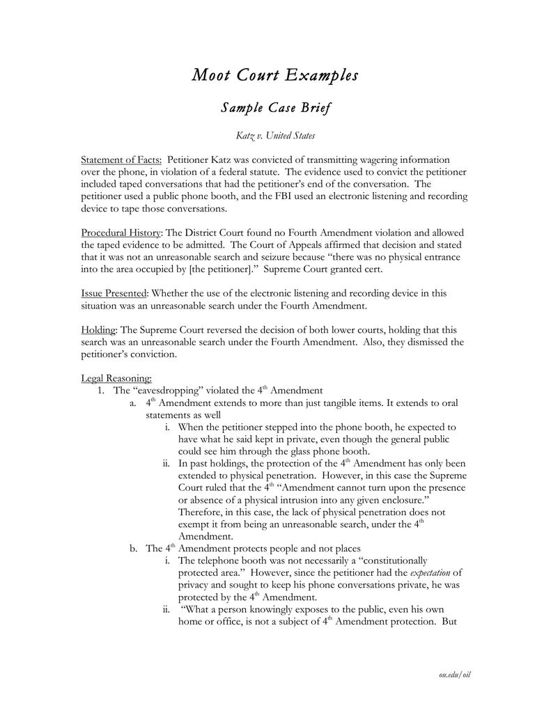 Sample student case brief.
