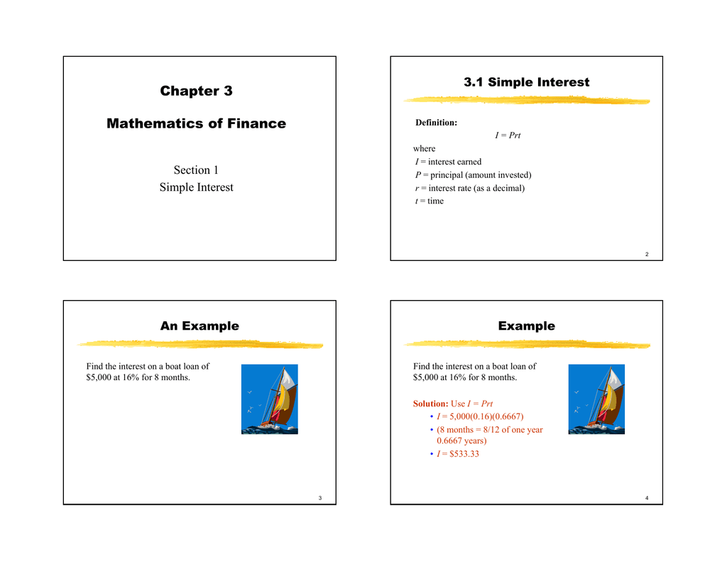 chapter 3 mathematics of finance section 1 simple interest