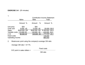 EXERCISE 3-9 1. Contribution Income Statement