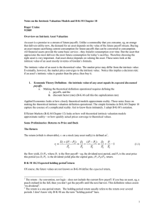 Notes on the Intrinsic Valuation Models and B-K-M Chapter 18  9/2005