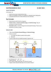 ELECTROCHEMICAL CELLS  21 MAY 2013 Lesson Description