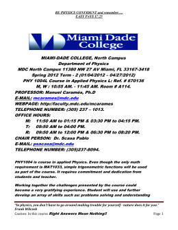 MIAMI-DADE COLLEGE, North Campus Department of Physics