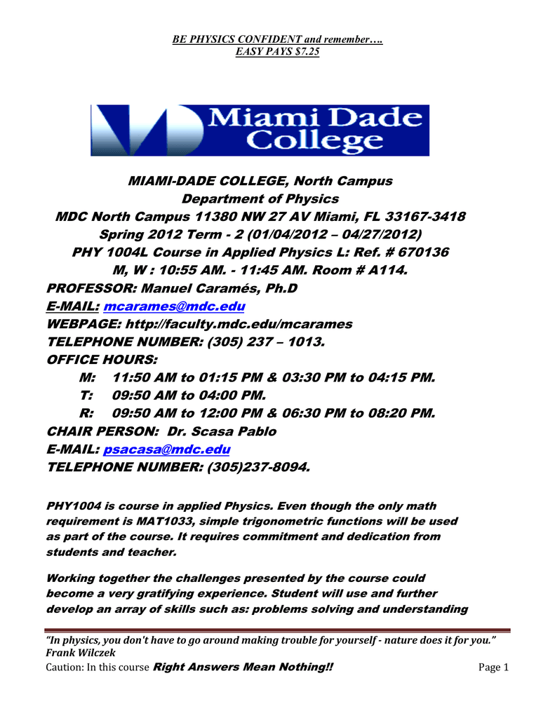 Miami Dade College North Campus Department Of Physics