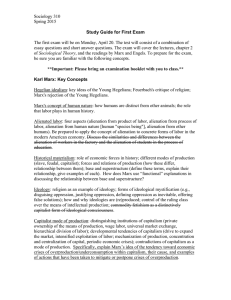 Sociology 310 Spring 2015 Study Guide for First Exam
