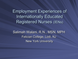Employment Experiences of Internationally Educated Registered Nurses (IENs)