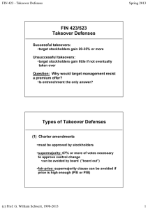 FIN 423/523 Takeover Defenses Successful takeovers: Unsuccessful takeovers: