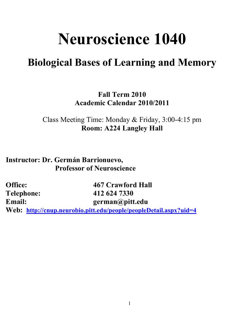 Pitt Academic Calendar.Neuroscience 1040 Biological Bases Of Learning And Memory