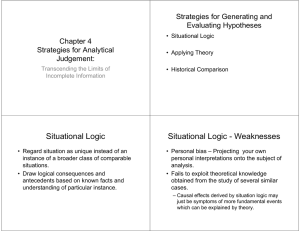 Situational Logic Situational Logic - Weaknesses Strategies for Generating and Evaluating Hypotheses