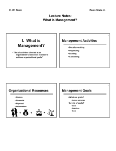 I.  What is Management? Lecture Notes: What is Management?