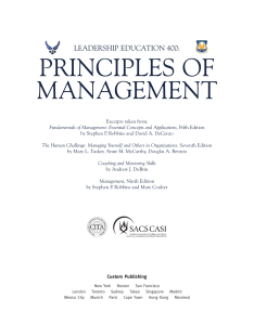 PRINCIPLES OF MANAGEMENT LEADERSHIP EDUCATION 400: