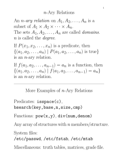 n-Ary Relations An n-ary relation on A , A