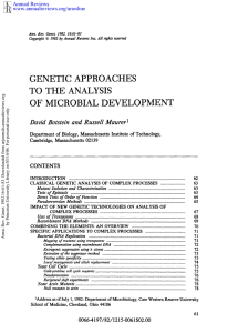 GENETIC  APPROACHES TO  THE  ANALYSIS