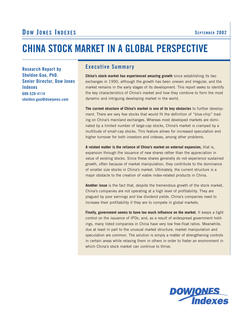 CHINA STOCK MARKET IN A GLOBAL PERSPECTIVE D J I