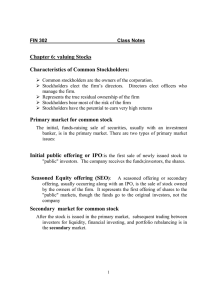 Chapter 6: valuing Stocks  Characteristics of Common Stockholders: