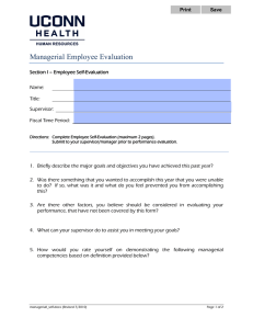 Managerial Employee Evaluation  Section I – Employee Self-Evaluation Name: