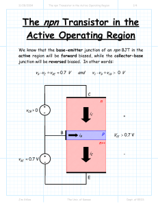 npn The Transistor in the Active Operating Region