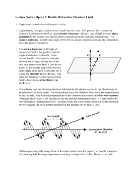 Lecture Notes - Optics 3: Double Refraction, Polarized Light