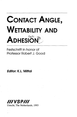 CONTACT ANGLE, WETTABILITY AND IIIVSPM Festschrift in honor of