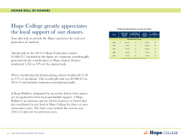 Hope College greatly appreciates the loyal support of  our donors.