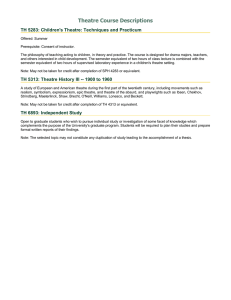 Theatre Course Descriptions TH 5283: Children's Theatre: Techniques and Practicum