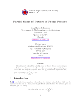 Partial Sums of Powers of Prime Factors