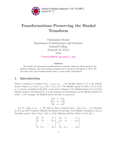 Transformations Preserving the Hankel Transform Christopher French Department of Mathematics and Statistics