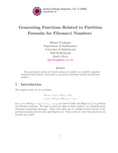 Generating Functions Related to Partition Formulæ for Fibonacci Numbers Helmut Prodinger