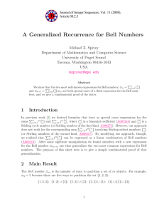 A Generalized Recurrence for Bell Numbers