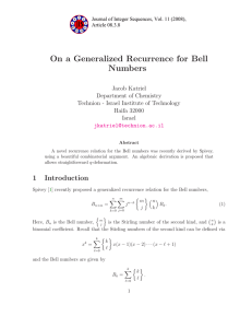 On a Generalized Recurrence for Bell Numbers Jacob Katriel Department of Chemistry