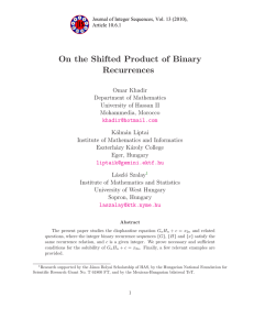On the Shifted Product of Binary Recurrences