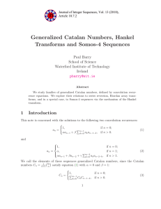 Generalized Catalan Numbers, Hankel Transforms and Somos-4 Sequences Paul Barry School of Science