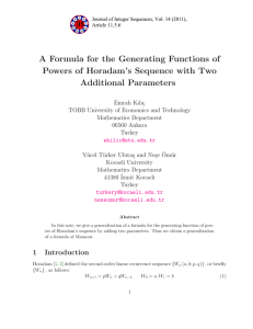 A Formula for the Generating Functions of Additional Parameters