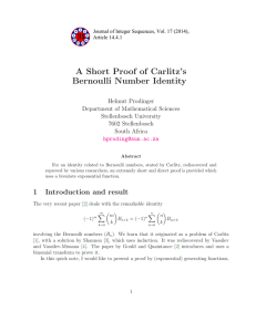 A Short Proof of Carlitz's Bernoulli Number Identity