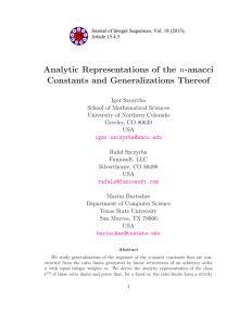 Analytic Representations of the n-anacci Constants and Generalizations Thereof