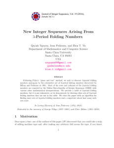 New Integer Sequences Arising From -Period Folding Numbers 3
