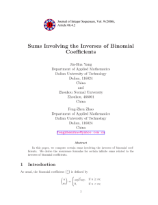 Sums Involving the Inverses of Binomial Coefficients