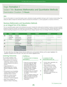 Stage: Formation 1 Subject Title: Business Mathematics and Quantitative Methods