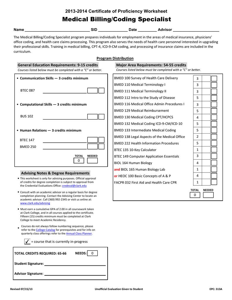 Worksheets Medical Coding Practice Worksheets medical billingcoding specialist 2013 2014 certificate of proficiency worksheet