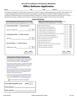 Office software application 2014 2015 certificate of proficiency worksheet - Office software applications ...