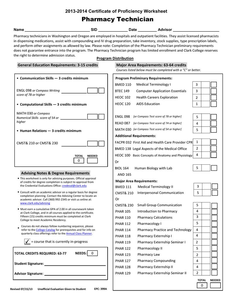 Pharmacy Technician 2013 2014 Certificate Of Proficiency Worksheet