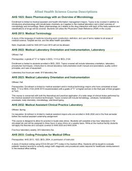 Medical Assistant Course Descriptions